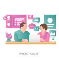 Progettazione concettuale dell'illustrazione dell'analista di prodotto vettore