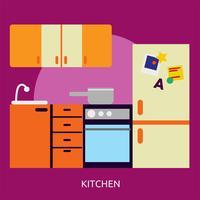 Disegno dell'illustrazione concettuale della cucina