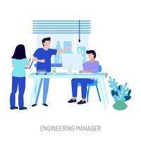 Progettazione concettuale dell'illustrazione del responsabile di ingegneria