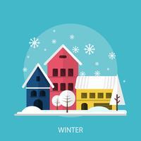 Progettazione concettuale dell'illustrazione di stagione invernale vettore