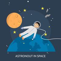 Progettazione dell'illustrazione concettuale di Astronout nello spazio