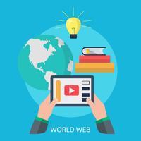 Disegno dell'illustrazione concettuale di Web di mondo vettore