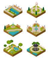 Set di composizioni isometriche di design del paesaggio vettore