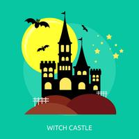 Progettazione concettuale dell'illustrazione del castello della strega vettore