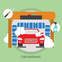 Progettazione concettuale dell'illustrazione di lavaggio dell'automobile