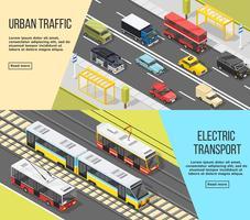 Set di banner di trasporto urbano vettore