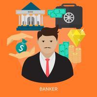 Progettazione concettuale dell'illustrazione del banchiere vettore