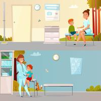 Kid visite medico Cartoon Banners vettore
