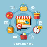 Composizione colorata e-commerce vettore