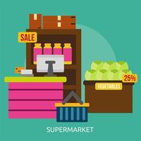 Progettazione dell'illustrazione concettuale del supermercato