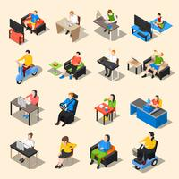 Set di icone di vita sedentaria