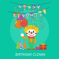 Disegno concettuale dell'illustrazione del pagliaccio di compleanno