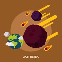 Disegno dell'illustrazione concettuale di asteroidi