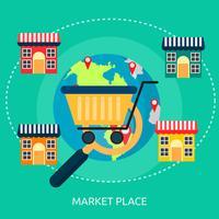 Progettazione dell'illustrazione concettuale del posto di mercato