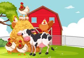Un terreno agricolo con animali vettore