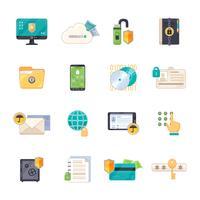 Set di icone piane di simboli di protezione dei dati
