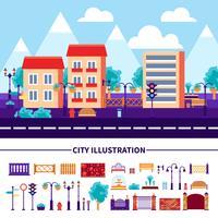 Icone dell'illustrazione della città impostate vettore