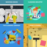 Set di icone di concetto di pulizia