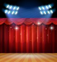 Scena di sfondo con tende di luce e rosse sul palco vettore