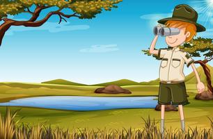 Un guardiano dello zoo in savana