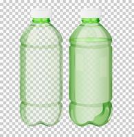 Bottiglia trasparente di plastica verde vettore