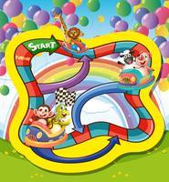 Modello di gioco con animali in auto da corsa vettore