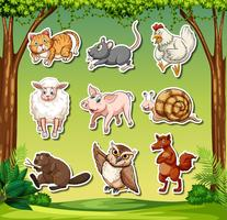 Set di caratteri adesivi animali vettore