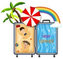 Un bagaglio con viaggio in spiaggia vettore
