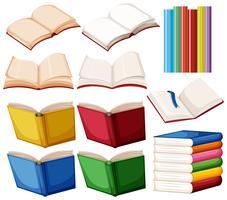 Set di libri su sfondo bianco vettore