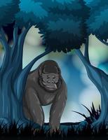 Un gorilla nella foresta vettore