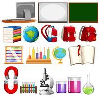 Insieme di elementi di apprendimento scolastico vettore