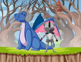 Scena di drago e cavaliere vettore