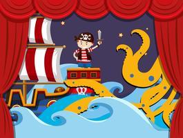 Gioca a teatro con i kraken che combattono i pirati vettore