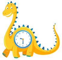 Un orologio di dinosauro su sfondo bianco