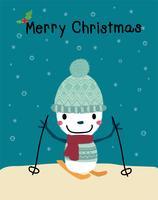 pupazzo di neve che gioca sci allegra cartolina di Natale vettore