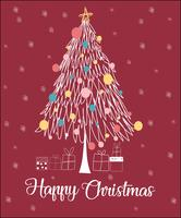 Linea di albero di Natale carta natale felice