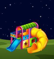 Scena del parco giochi di notte vettore