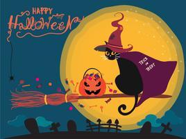Scheda di Halloween con gatto nero carino in sella a una fioritura di strega