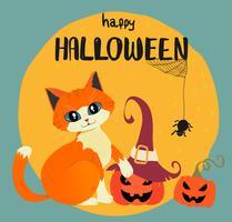 Carta felice di Halloween con il gatto arancio disegnato a mano e zucche contro la luna piena vettore