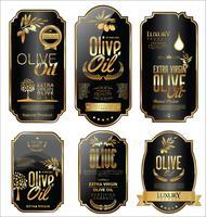Collezione di etichette retrò di olio d'oliva