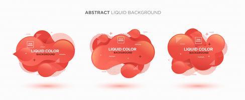 Insieme astratto moderno della bandiera di vettore liquido. Forma liquida geometrica piana con colori sfumati e elemento di design di Memphis. Modello di vettore moderno, modello per la progettazione di un logo, un volantino o una presentazione.