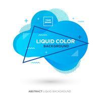 Banner a colori corallo vivente astratto liquido con cornice di linea e logo di marchio vettore