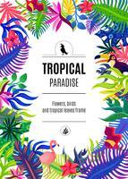 Poster di sfondo cornice paradiso tropicale vettore