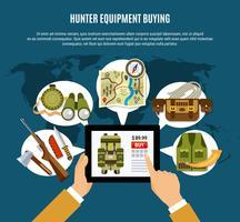 composizione di equipaggiamento da cacciatore vettore