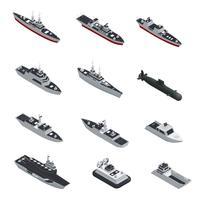 Set di icone isometriche di barche militari vettore