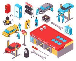 Set di icone isometriche di servizio auto vettore