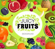 Poster di sfondo cornice di frutta fresca vettore