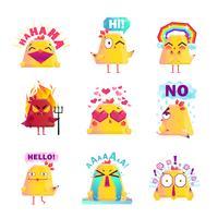 Icone divertenti del personaggio dei cartoni animati del pollo messe vettore