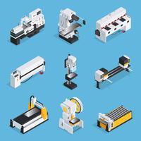Set isometrico di macchine per la lavorazione dei metalli vettore