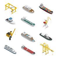 Set di icone isometriche nave mare e fiume